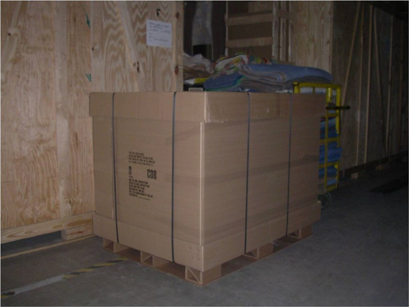 Palletized goods in trailer.
